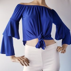 Fashion Nova Royal Blu Knot Front Off Shoulder Top